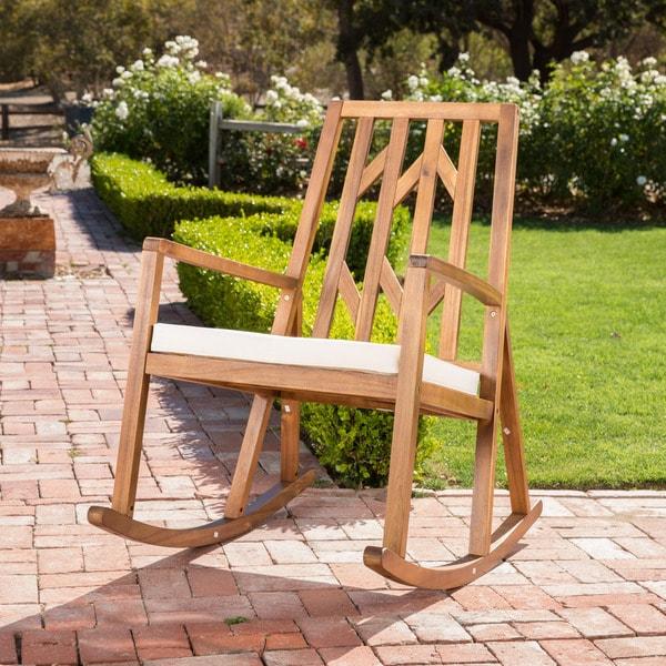 Christopher Knight Home Nuna Outdoor Wood Rocking Chair w/ Cushion