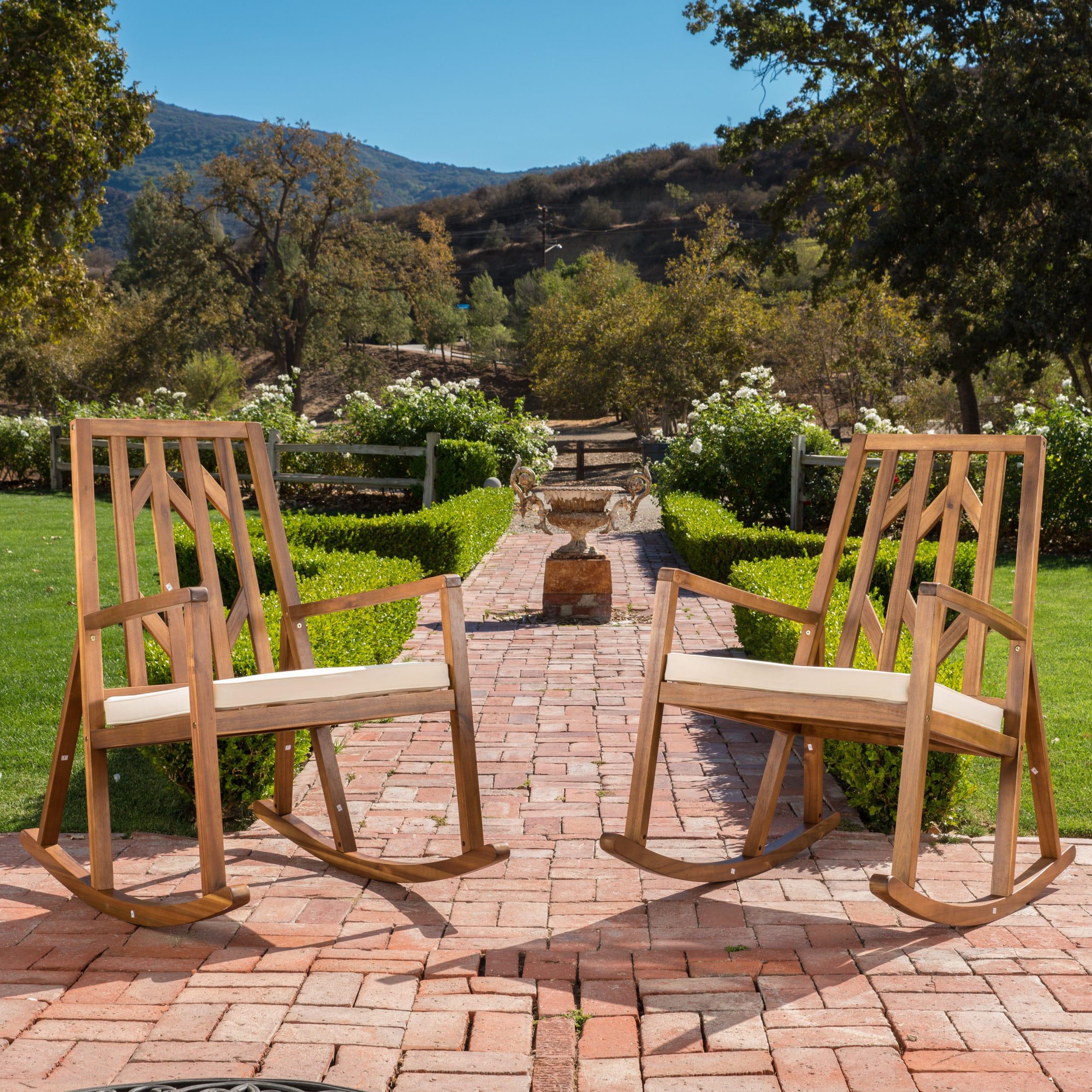 Nuna Outdoor Wood Rocking Chair w/ Cushion (Set of 2) by ...