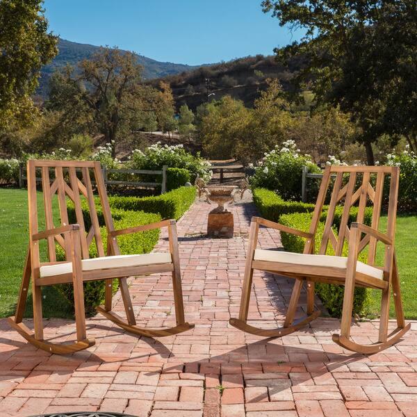 Miraculous Shop Nuna Outdoor Wood Rocking Chair W Cushion Set Of 2 Unemploymentrelief Wooden Chair Designs For Living Room Unemploymentrelieforg