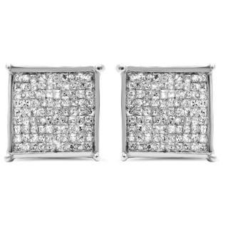 Noori 14k White Gold 1ct TDW Princess-cut Diamond Earrings