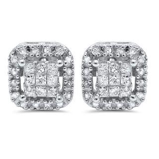 Noori 14k White Gold 7/8ct TDW Princess-cut Diamond Earrings (I-J, I2-I3)