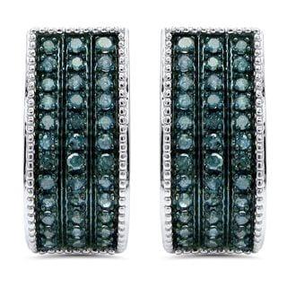 Noori 10k Gold 7/8ct TDW Blue Round Diamond Hoop Earrings