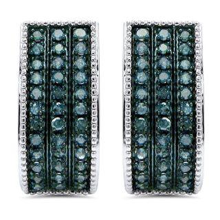 Noori 10k Gold 7/8ct TDW Blue Round Diamond Hoop Earrings (I2-I3)