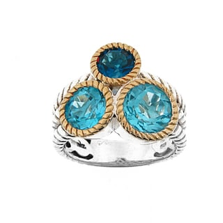 Meredith Leigh Two-tone 14k Yellow Gold/ Sterling Silver 5 1/5ct TGW Multi-color Blue Topaz Rope Band Ring