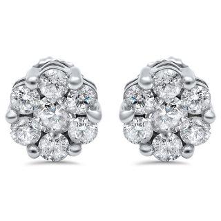 Noori 14k Gold 1ct TDW Round Flower Diamond Earrings (I-J, I1-I2)