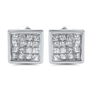 Noori 14k Gold 5/8ct TDW Princess-cut Diamond Earrings (I-J, I2-I3)