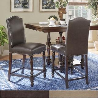 TRIBECCA HOME Parisian Nailhead Upholstered Counter Stools (Set of 2)