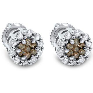 Noori 14k Gold 5/8ct TDW Brown Round Diamond Flower Earrings (I-J, I1-I2)