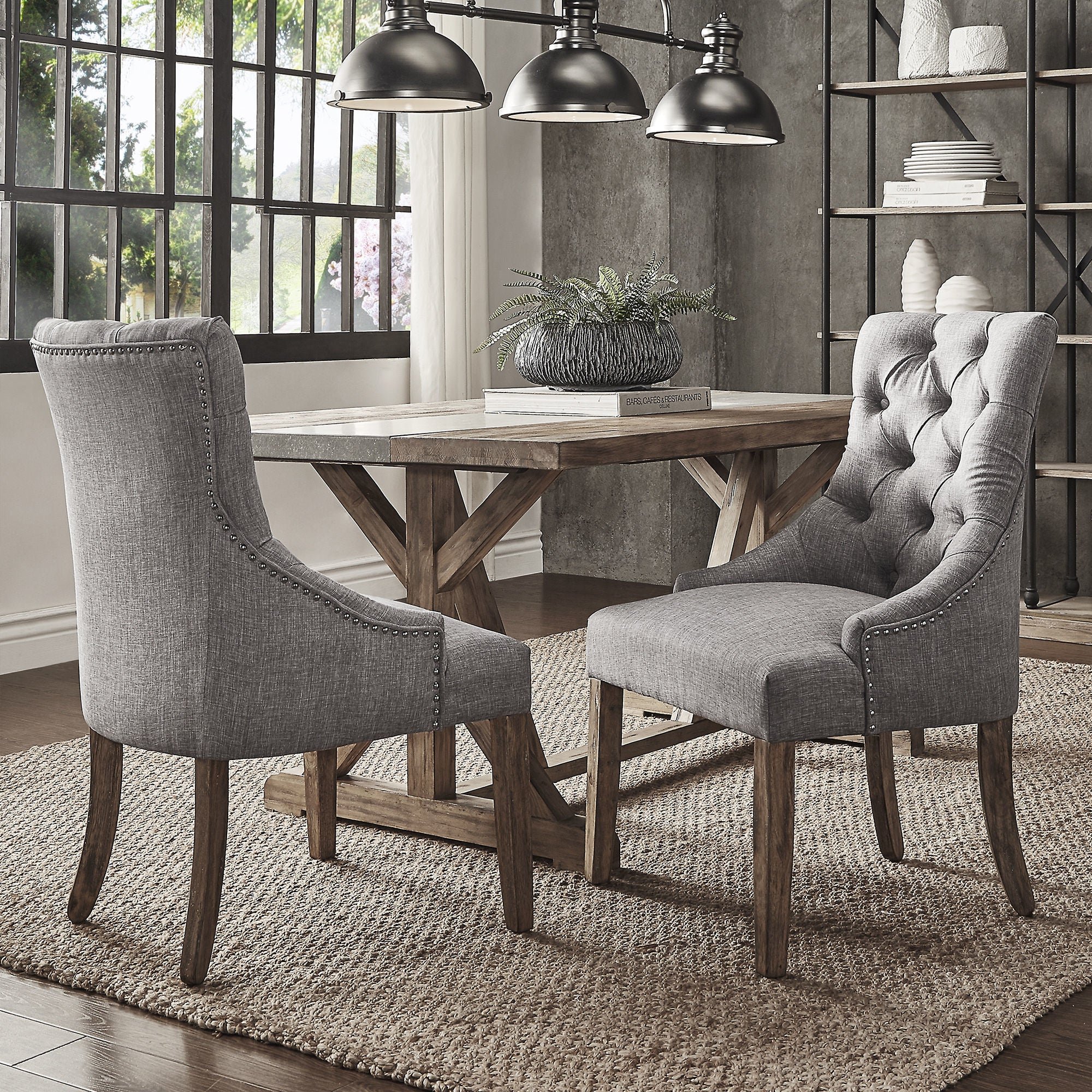 Benchwright Button Tufts Wingback Hostess Chairs Set Of