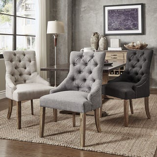 Benchwright Button Tufts Wingback Hostess Chairs (Set of 2) by iNSPIRE Q Artisan : club chairs for living room - Cheerinfomania.Com