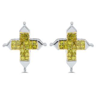 Noori 14k Gold 3/4ct TDW Canary Princess-cut Diamond Cross Earrings (I1-I2)