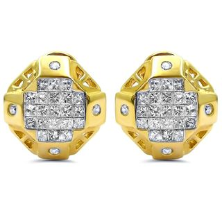 Noori 14k Gold 1 2/5ct TDW Princess-cut Diamond Omega Back Hoop Earrings (I-J, I2-I3)