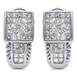 Noori 14k White Gold 1 4/5ct TDW Princess-cut Diamond Hoop Earrings