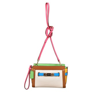 Coach Rainbow Colorblock Leather Swagger Wristlet