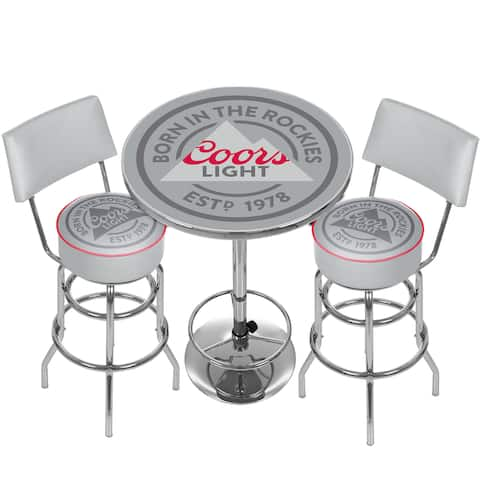 Coors Light Game Room Combo - 2 Stools w/Back & Table - Grey