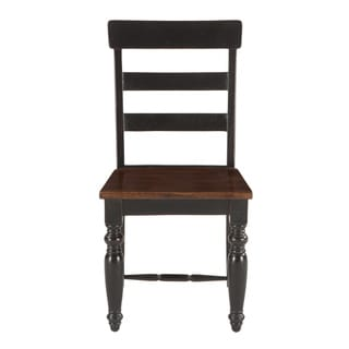 Carros Sur Black and Brown Acacia Wood Dining Chairs (Set of 2)