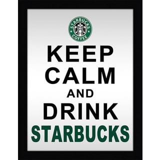 Framed Canvas Art Studio Keep Calm & Drink Starbucks Framed Plexiglass Wall Art