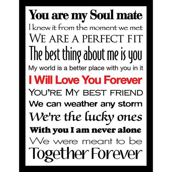 4af87d5f570 Shop Framed Canvas Art Studio I Will Love You Forever II Framed Plexiglass Wall  Art - On Sale - Free Shipping Today - Overstock - 13180124
