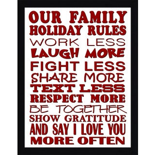 Framed Canvas Art Studio Family Holiday Rules Framed Plexiglass Wall Art