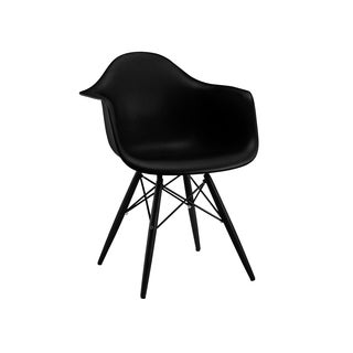 Trige Black Mid Century Arm Chair Black Base (Set of 2)