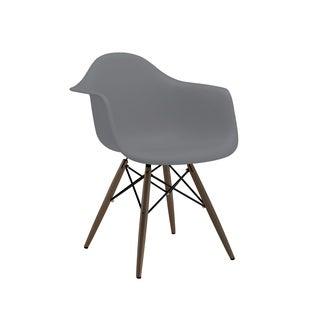 Trige Dark Grey Mid Century Arm Chair Walnut Base (Set of 2)