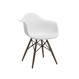 Trige White Mid Century Arm Chair Walnut Base (Set of 2)