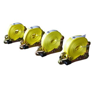 Max Load 2-inch x 27-foot J Hook Ratchet Tie Downs (Pack of 4) (Option: Yellow)