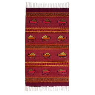 Mexican Red Turtles Zapotec Wool Rug (5' x 8')