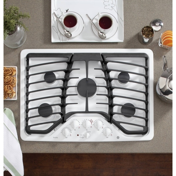 Shop Ge Profile Series 30 Inch White Built In Gas Cooktop