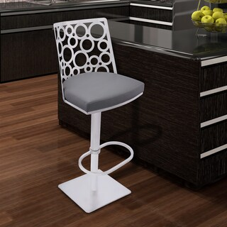 Armen Living Berlin Grey Pu and Brushed Stainless Steel Adjustable Swivel Barstool