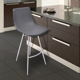 Armen Living Athens Brushed Stainless Steel and Grey Faux Leather Barstool
