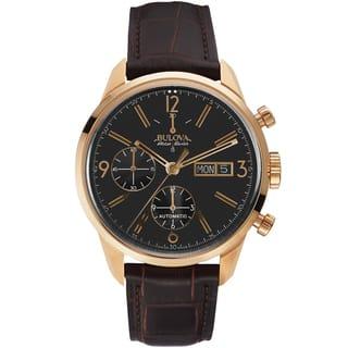 Bulova Men's 64C106 Leather Brown 'Gemini' Swiss Automatic Casual Watch|https://ak1.ostkcdn.com/images/products/13180442/P19903024.jpg?impolicy=medium