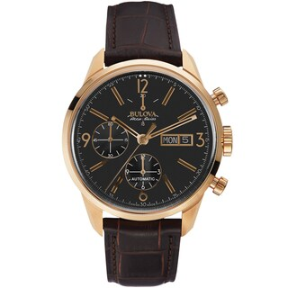 Bulova Men's 64C106 Leather Brown 'Gemini' Swiss Automatic Casual Watch