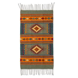 Handmade Mexican Valley of Light Zapotec Wool Rug (2' x 3.5')