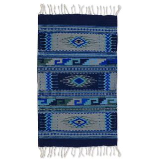 Handmade Mexican Paradise in Blue Zapotec Wool Rug (Mexico) - 2' x 3.5'