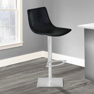 Armen Living Attica Vintage Black Faux Leather and Brushed-finished Stainless Steel Adjustable Swive
