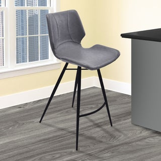 Armen Living Zurich Vintage Grey Faux Leather and Black-finished Metal Barstool