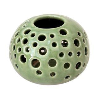 Handmade Jade Snowball Ceramic Candleholder (Indonesia)