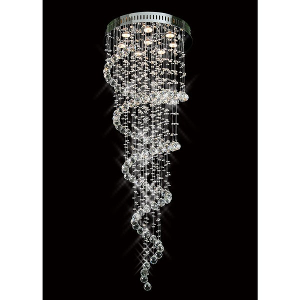 Galaxy Spiral Collection 8007-2056 Chrome-finish Steel and Crystal Chandelier - Chrome