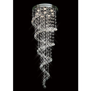 Galaxy Spiral Collection 8007-2056 Chrome-finish Steel and Crystal Chandelier