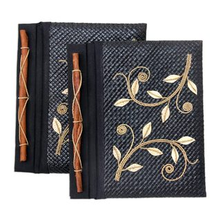 Handmade Set of 2 Dancing Leaves Pandanus Journals (Indonesia)