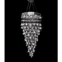 Galaxy Drop Collection Chrome Steel and Crystal Chandelier