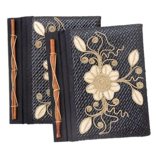 Handmade Set of 2 Floral Pride Pandanus Journals (Indonesia)