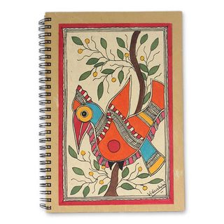 Handmade Mango Bird Madhubani Journal (India)