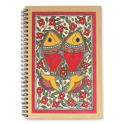 Handmade Sea of Flowers Madhubani Journal (India)