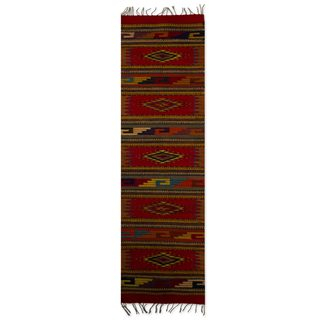Mexican Star Vision Zapotec Wool Rug (1.5' x 6.5')