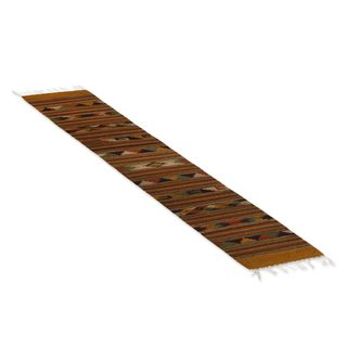 Mexican Oaxaca Homeland Zapotec Wool Runner Rug (1.5' x 7')