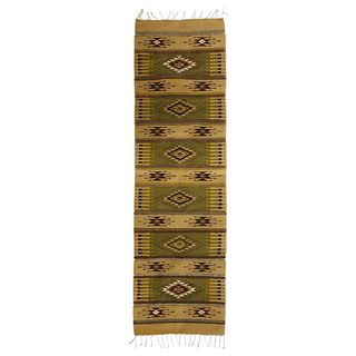 Mexican Blessed Fields Zapotec Wool Runner Rug (2' x 6.5')