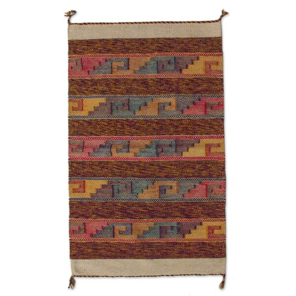 Shop Handmade Mexican Sky Stairway Zapotec Wool Rug (2' X