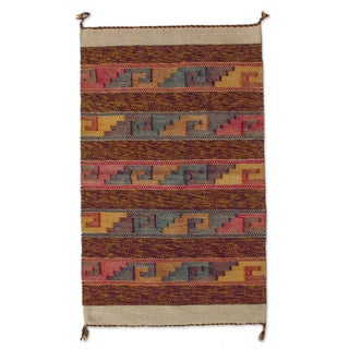 Mexican Sky Stairway Zapotec Wool Rug (2' x 3.5')
